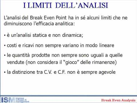 7 - alcuni limiti dell'analisi del break even point