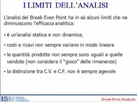 7 - alcuni limiti dell'analisi del break even point