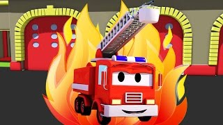 getlinkyoutube.com-Frank The Fire Truck and all his friends in Car City: Super Truck, Troy The Train, the Police Car...