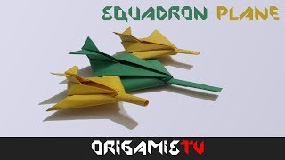 Avion de Guerra de Papel: Como hacer un avion de papel Squadron Facil Tutorial