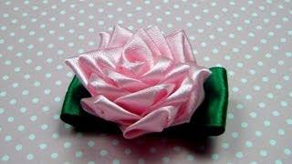 getlinkyoutube.com-Чайная РОЗА КАНЗАШИ. Мастер-класс / Ribbon Rose, Kanzashi Flower Tutorial / ✿ NataliDoma