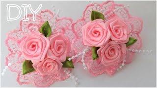 getlinkyoutube.com-🌺 Резинки с Розами Своими Руками / Розы из Атласных Лент / Roses of Satin Ribbons