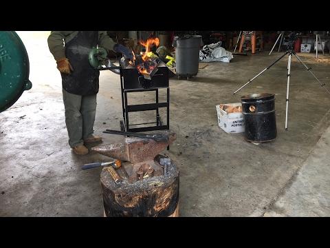 Hand forging a froe  live blacksmith show