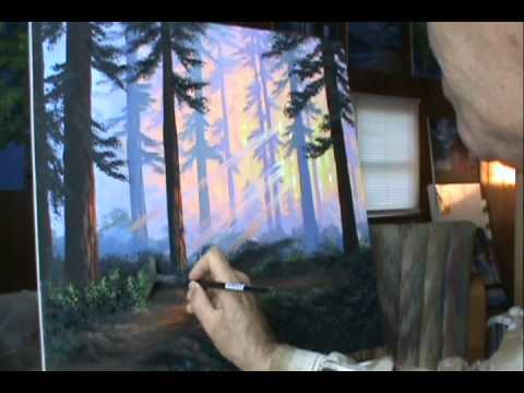 Jak malować 16 las o zachodzie słońca z akryl na płótnie