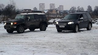 getlinkyoutube.com-Land Rover Freelander 2  Tayota FJ Cruiser off road