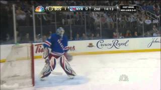 getlinkyoutube.com-Zdeno Chara breaks Henrik Lundqvist's mask. May 23 2013 Boston Bruins vs NY Rangers NHL Hockey.