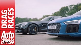getlinkyoutube.com-Mercedes-AMG GT S vs Audi R8 V10 drag race: German supercars face off!