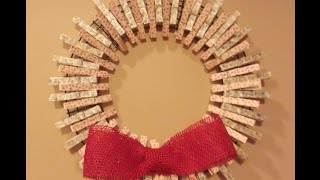 getlinkyoutube.com-How to make a Clothespin Wreath Decorated with Peg Stamps, Inexpensive and  Cute!