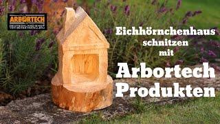 getlinkyoutube.com-Eichhörnchenhaus Vogelhäuschen schnitzen mit Arbortech Werkzeug