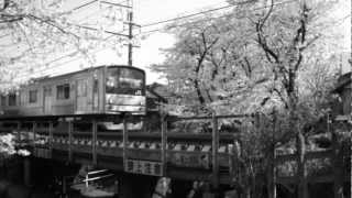 getlinkyoutube.com-満開の桜の中、鉄橋を渡る南武線205系の動画を昔風にしてみた