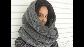 getlinkyoutube.com-Πλεκτος Φαρδυς Λαιμος με Σχεδιο Πλεξουδες / Crochet Wide Infinity Scarf Tutorial