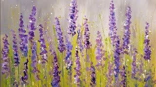 Easy Lavender Impressionist Acrylic Tutorial LIVE Free Step by Step Beginner Painting