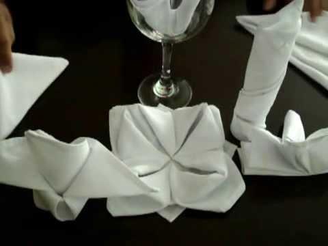 Dobras de Guardanapos - Rosa ou Flor de Lotus. Instrutor Denis de Moraes - Marketing-D