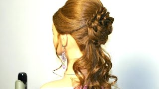 getlinkyoutube.com-Romantic prom hairstyle for long hair with braided flower.