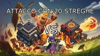 Clash Of Clans War TH9 Vs TH10: Attacco Con 20 streghe In Live!