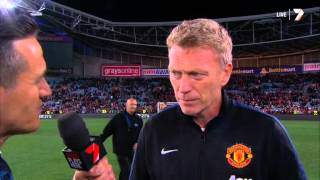 getlinkyoutube.com-Man United David Moyes Australia interview A Team All-Stars Game Review ALL Goals!