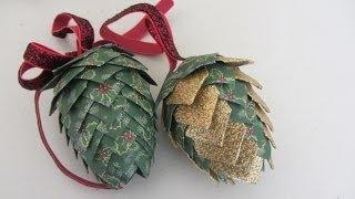 getlinkyoutube.com-Paper Pinecone Christmas Ornament Styrofoam Egg Shape Beautiful