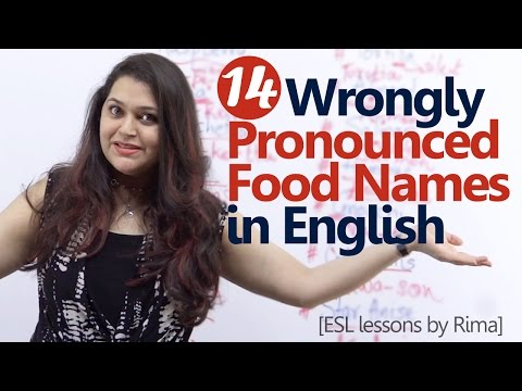 14 Wrongly pronounced Food Names in English - English Lesson - Improve your English Pronunciation