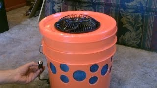 "Homemade Evap. Air Cooler - The ""5 Gallon Bucket"" Swamp Cooler! DIY - can be solar powered!"