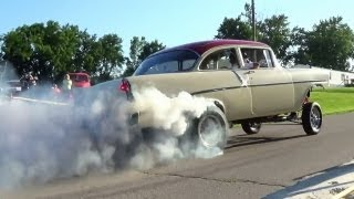getlinkyoutube.com-Awesome Burnout - Supercharged 1956 Chevy Gasser Wright City MO Rod Run