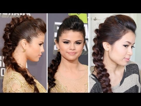 Selena Gomez MTV Movie Awards 2013 Hairstyle | Braided Faux Hawk Hair Tutorial