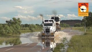 getlinkyoutube.com-Extreme Trucker #2 - HUGE Road trains trucks crossing flooded river in the Australian outback