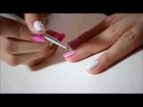 Nails Tutorial / Pink Heart + White Lines.