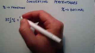 How to Convert a Percentage Into a Fraction or Decimal , Intermediate Algebra ,  Lesson 14