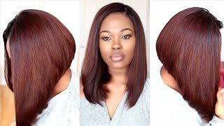 getlinkyoutube.com-Chestnut Brown Long Bob Hairstyle Tutorial