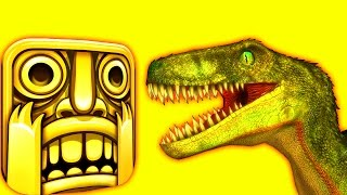 TEMPLE RUN with RAPTORS  ♫  3D animated  DINOSAUR-GAME mashup ☺ FunVideoTV - Style ;-))