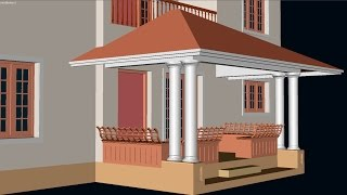 CREATE 3D HIPPED ROOF FOR THE SIT OUT | AUTOCAD 3D HIPPED ROOF