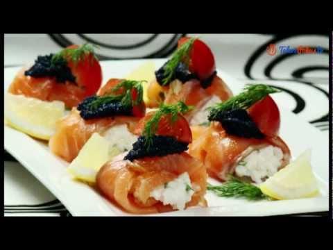 Roladki z łososia z ryżem