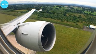 getlinkyoutube.com-GE90 ENGINE ROAR | Singapore Airlines 777-300ER Takeoff from Manchester Airport!