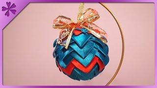 getlinkyoutube.com-DIY Artichoke ribbon Christmas ball (ENG Subtitles) - Speed up #46