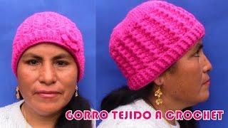 getlinkyoutube.com-Gorro Crochet en una sola talla para niñas, señoritas y señoras