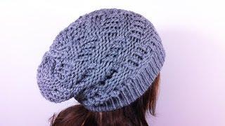 getlinkyoutube.com-How to Loom Knit a Basket Weave Slouchy Beanie Hat (DIY Tutorial)
