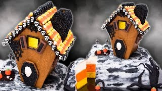 getlinkyoutube.com-Gingerbread Haunted House Cake with Candy Corn Cake Layers for Halloween
