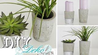 getlinkyoutube.com-DIY: Blumenübertöpfe aus Beton selber machen | Deko Kitchen