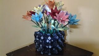 getlinkyoutube.com-How to make an Egg tray Flower Vase and Flowers