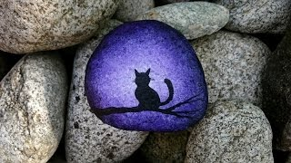 getlinkyoutube.com-Cat on branch -- Silhouette painting on rock -- SPEED ACRYLIC  PAINTING