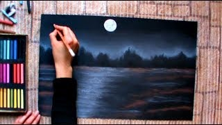 getlinkyoutube.com-How to draw a night winterscape with pastels, speed drawing by Thundy