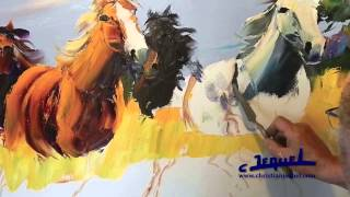 "getlinkyoutube.com-02-Demonstration of knife painting by Christian Jequel: ""Horses"""