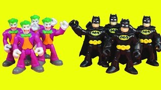 getlinkyoutube.com-Imaginext Batman replicates himself to battle Joker Gotham city police jail