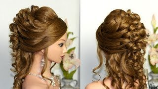 getlinkyoutube.com-Curly wedding prom hairstyle for long hair.
