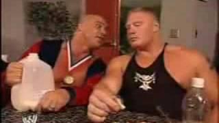 WWE Brock Lesnar & Kurt Angle - Funny Moment