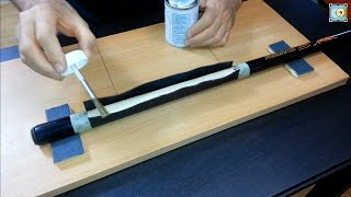 getlinkyoutube.com-Installing a Calfskin Black Leather Wrap on a Pool Cue - Part 2 - Grip Cuir sur Predator Sport Cue