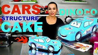 getlinkyoutube.com-CARS LIGHTNING MCQUEEN BLUE DINOCO CAKE