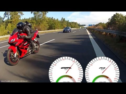 Acceleration - 100-275 km/h - R6 vs CBR 600 RR [1080p - GoPro Hero]