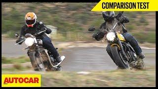 getlinkyoutube.com-Triumph Bonneville Street Twin VS Ducati Scrambler Icon | Comparison Test | Autocar India