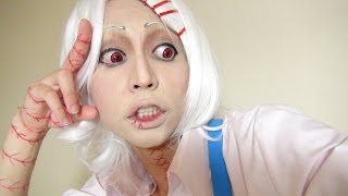 getlinkyoutube.com-「東京喰種(Tokyo Ghoul)」鈴屋什造メイク方法(化粧)Juuzou Suzuya Tutorial